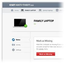ESET Anti-Theft portal screenshot