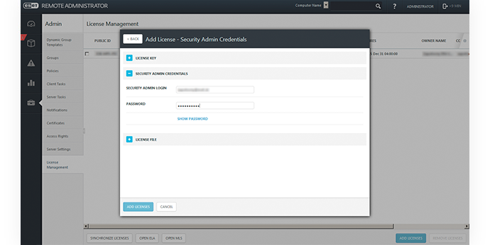 ESET Remote Administrator - License Management - New Site