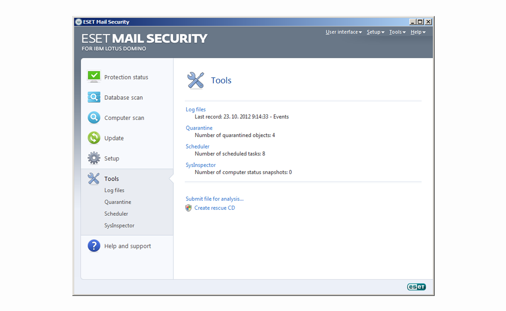 ESET Mail Security for IBM Lotus Domino -Tools