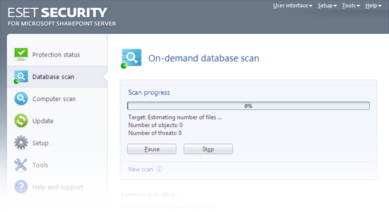 ESET Security for Microsoft SharePoint - Database scan