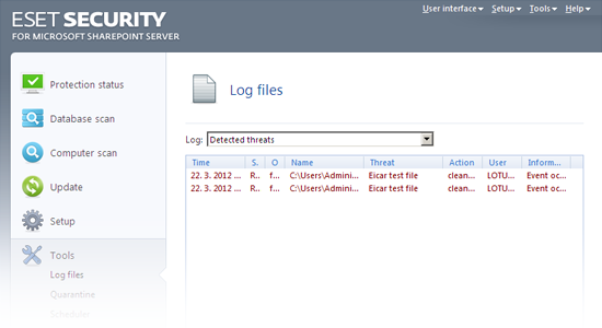 ESET Security for Microsoft SharePoint - Log files